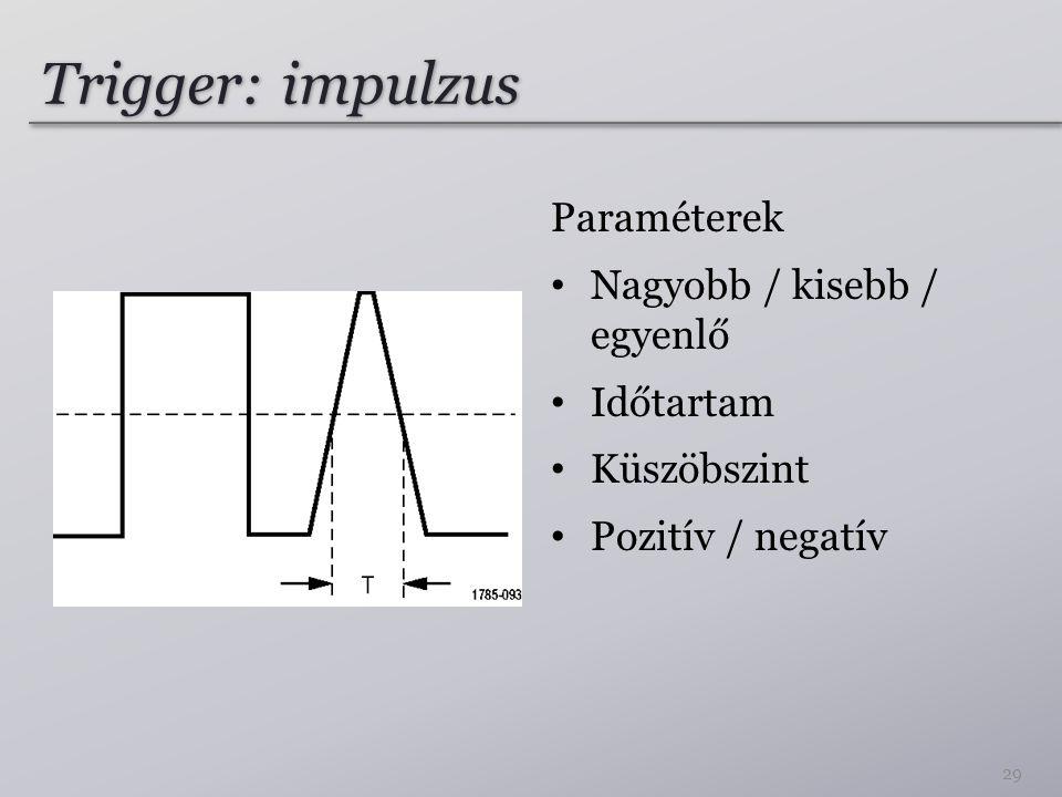 Trigger: impulzus Paraméterek Nagyobb / kisebb / egyenlő Időtartam Küszöbszint Pozitív / negatív 29