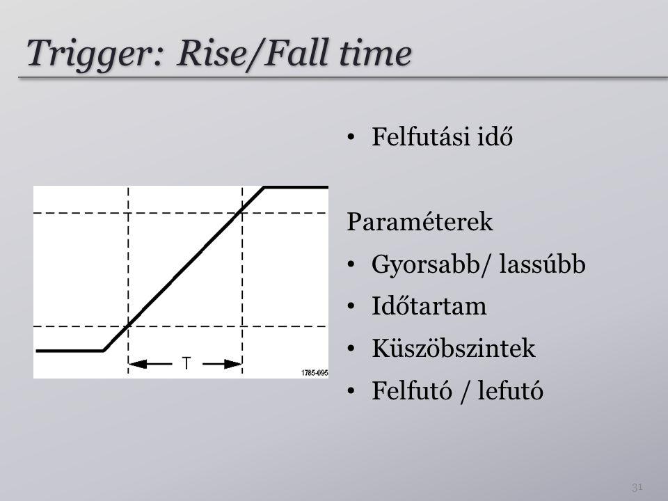 Trigger: Rise/Fall time Felfutási idő Paraméterek Gyorsabb/ lassúbb Időtartam Küszöbszintek Felfutó / lefutó 31