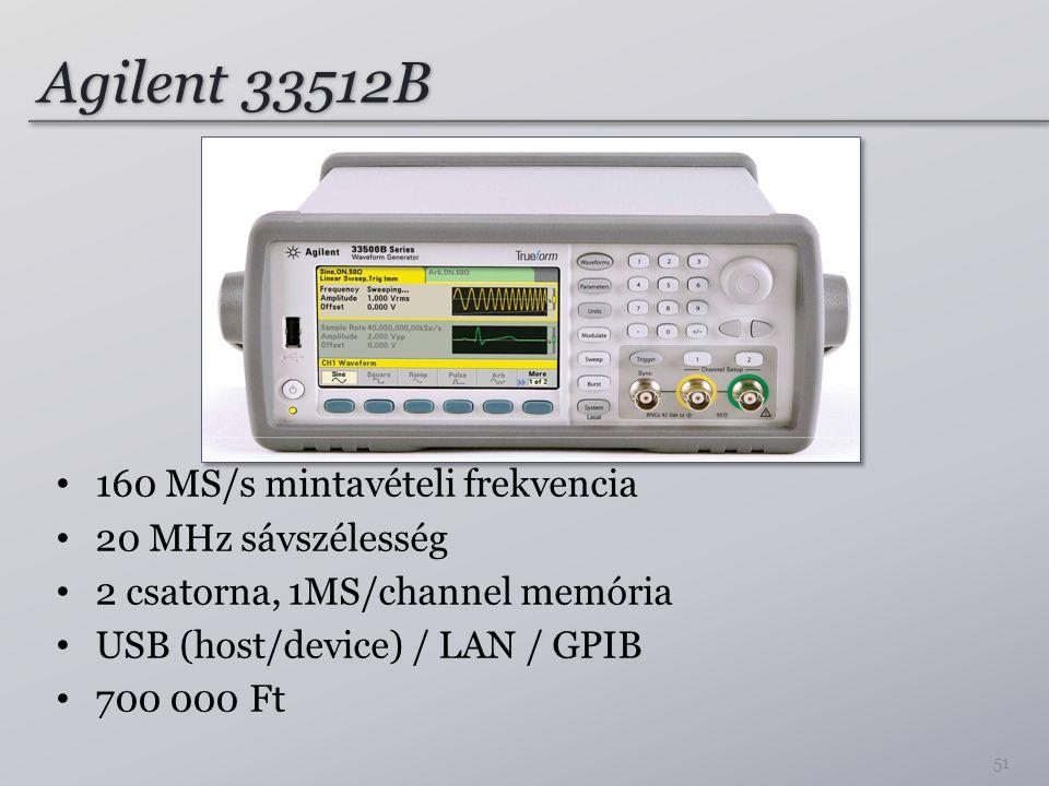 Agilent 33512B 160 MS/s mintavételi frekvencia 20 MHz sávszélesség 2 csatorna, 1MS/channel memória USB (host/device) / LAN / GPIB 700 000 Ft 51