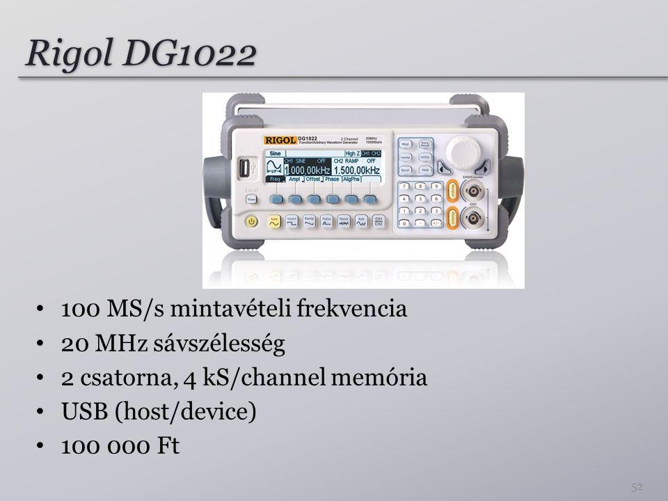 Rigol DG1022 100 MS/s mintavételi frekvencia 20 MHz sávszélesség 2 csatorna, 4 kS/channel memória USB (host/device) 100 000 Ft 52