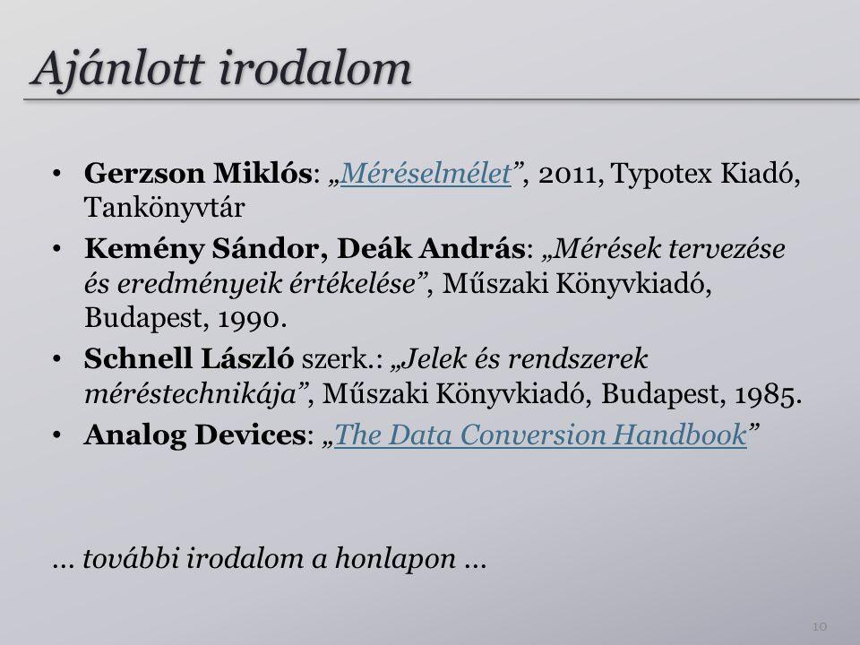 """Ajánlott irodalom Gerzson Miklós: """"Méréselmélet"""", 2011, Typotex Kiadó, TankönyvtárMéréselmélet Kemény Sándor, Deák András: """"Mérések tervezése és eredm"""