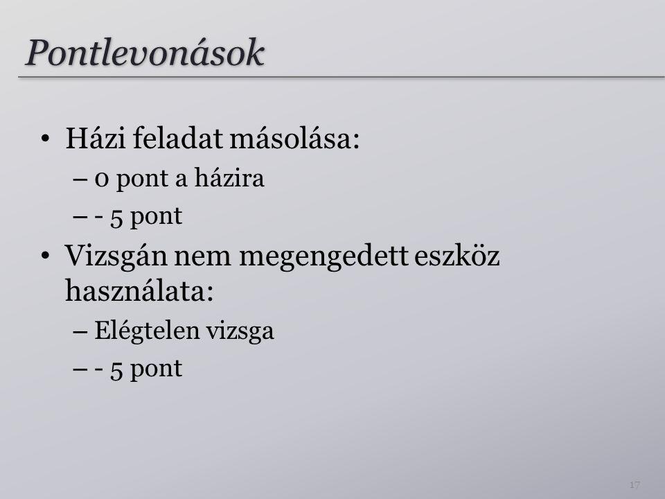Pontlevonások Házi feladat másolása: – 0 pont a házira – - 5 pont Vizsgán nem megengedett eszköz használata: – Elégtelen vizsga – - 5 pont 17