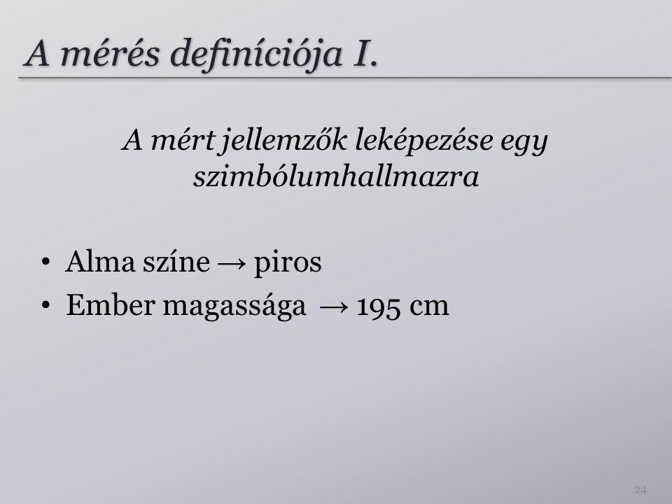 A mérés definíciója I. A mért jellemzők leképezése egy szimbólumhallmazra Alma színe → piros Ember magassága → 195 cm 24