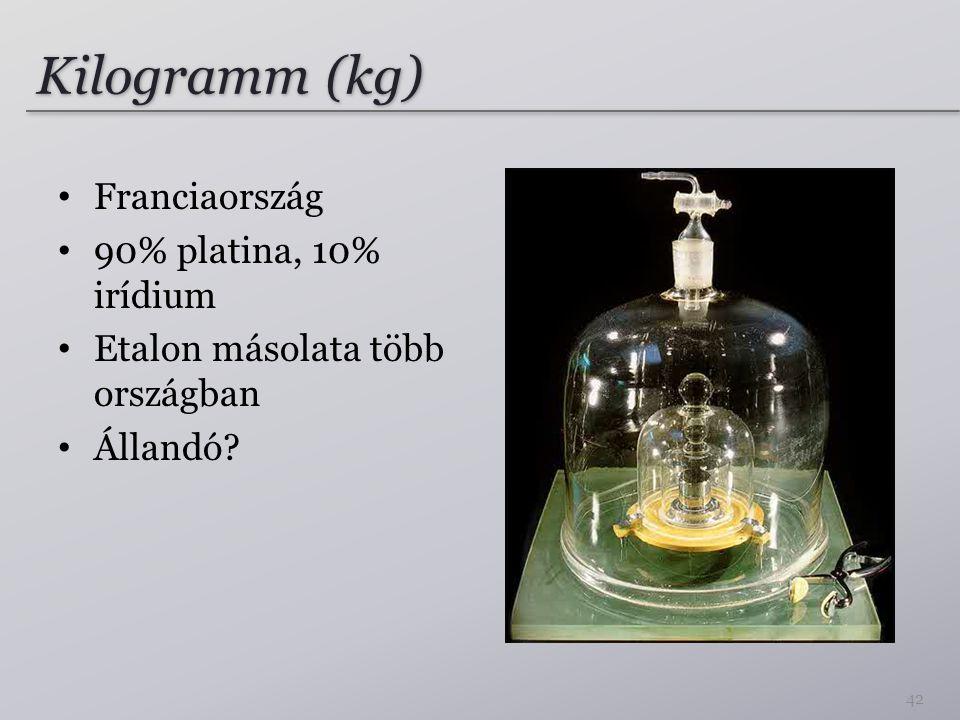 Kilogramm (kg) Franciaország 90% platina, 10% irídium Etalon másolata több országban Állandó? 42
