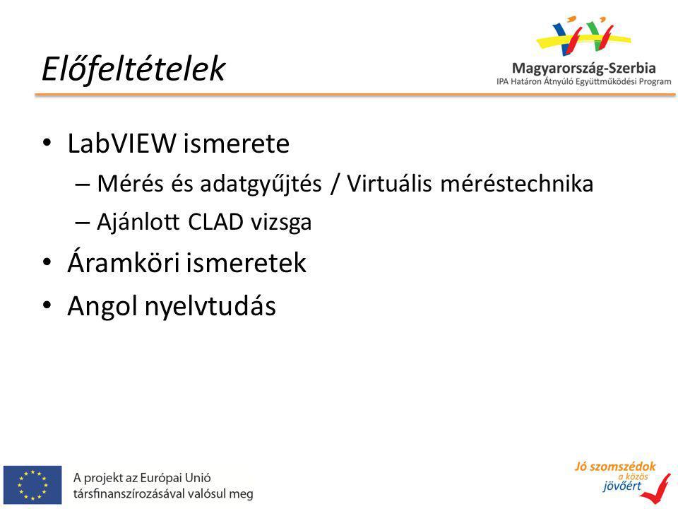 Előfeltételek LabVIEW ismerete – Mérés és adatgyűjtés / Virtuális méréstechnika – Ajánlott CLAD vizsga Áramköri ismeretek Angol nyelvtudás