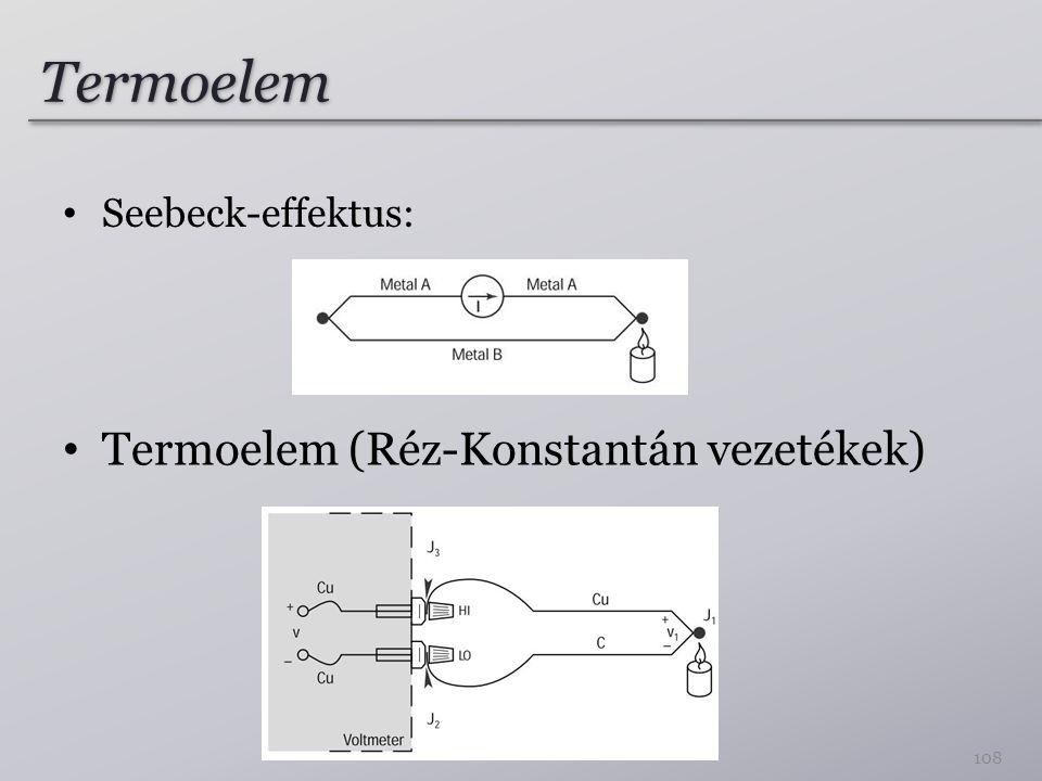 Termoelem Seebeck-effektus: 108 Termoelem (Réz-Konstantán vezetékek)