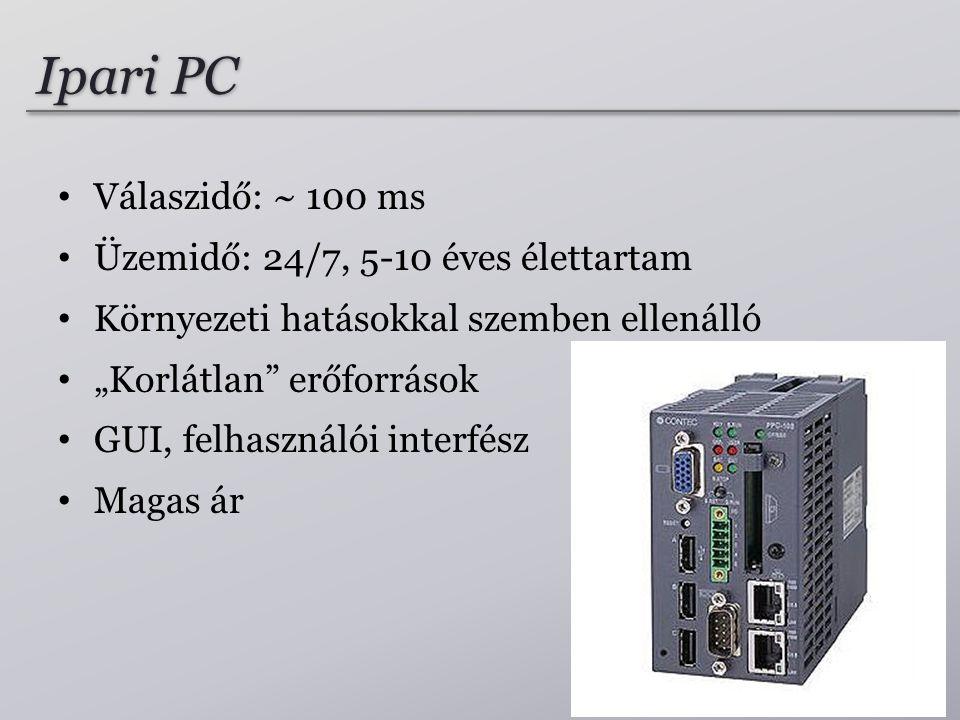 """Ipari PC Válaszidő: ~ 100 ms Üzemidő: 24/7, 5-10 éves élettartam Környezeti hatásokkal szemben ellenálló """"Korlátlan"""" erőforrások GUI, felhasználói int"""