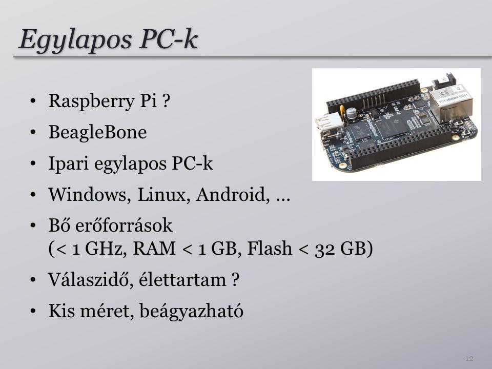 Egylapos PC-k Raspberry Pi ? BeagleBone Ipari egylapos PC-k Windows, Linux, Android,... Bő erőforrások (< 1 GHz, RAM < 1 GB, Flash < 32 GB) Válaszidő,