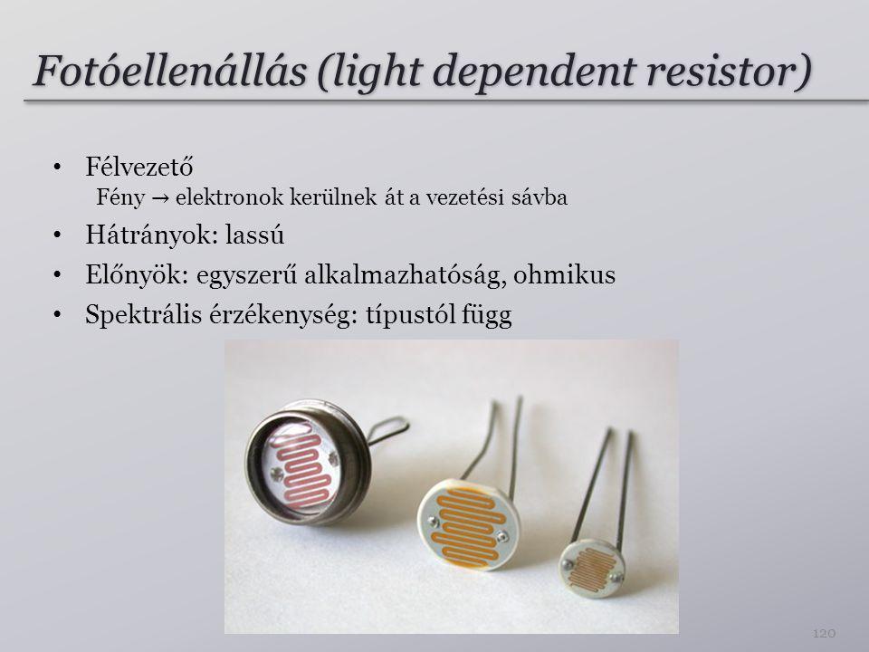 Fotóellenállás (light dependent resistor) 120