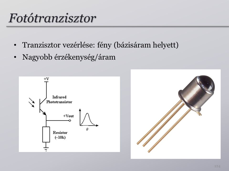 Fotótranzisztor Tranzisztor vezérlése: fény (bázisáram helyett) Nagyobb érzékenység/áram 124