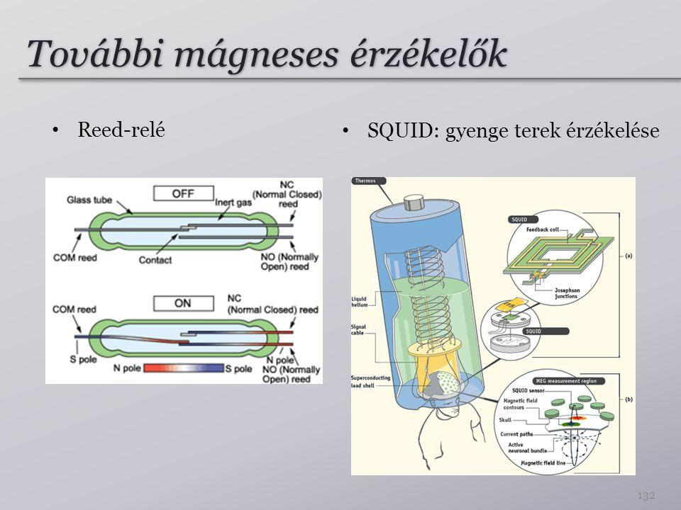 További mágneses érzékelők Reed-relé 132 SQUID: gyenge terek érzékelése