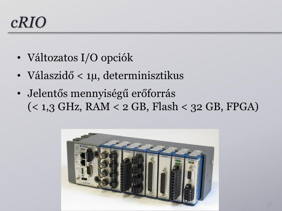 cRIO Változatos I/O opciók Válaszidő < 1µ, determinisztikus Jelentős mennyiségű erőforrás (< 1,3 GHz, RAM < 2 GB, Flash < 32 GB, FPGA) 17
