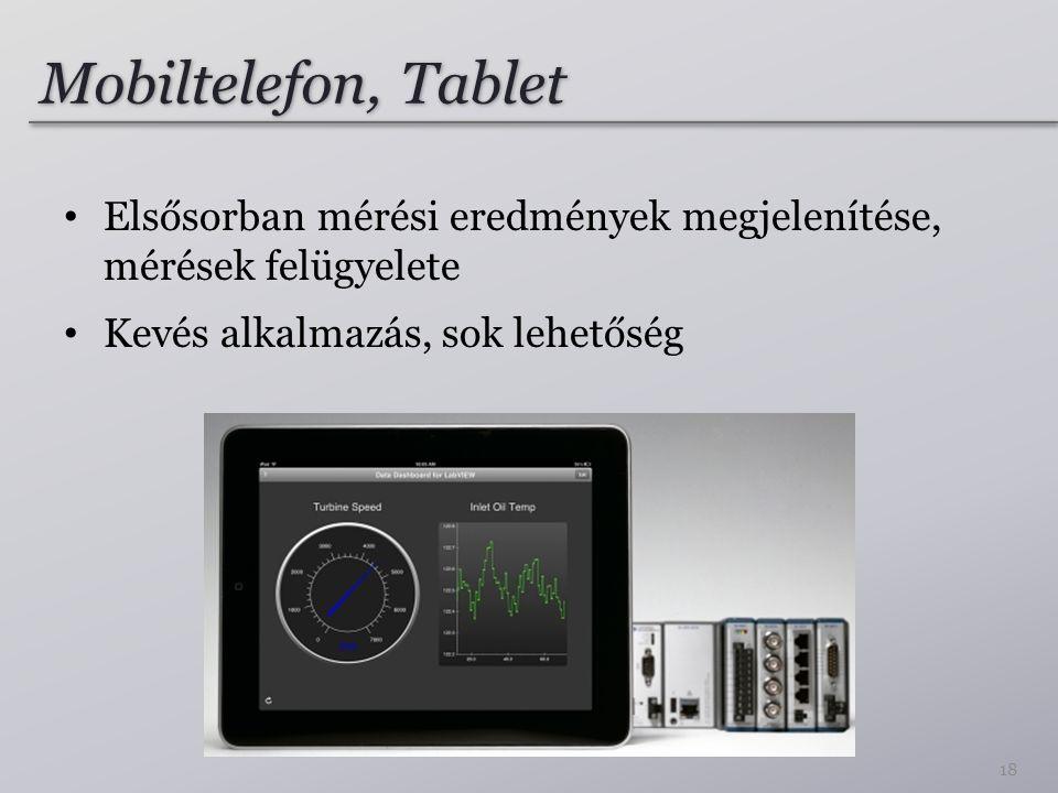 Mobiltelefon, Tablet Elsősorban mérési eredmények megjelenítése, mérések felügyelete Kevés alkalmazás, sok lehetőség 18