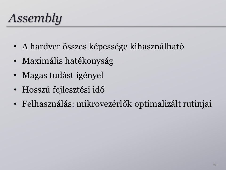 Assembly A hardver összes képessége kihasználható Maximális hatékonyság Magas tudást igényel Hosszú fejlesztési idő Felhasználás: mikrovezérlők optimalizált rutinjai 20