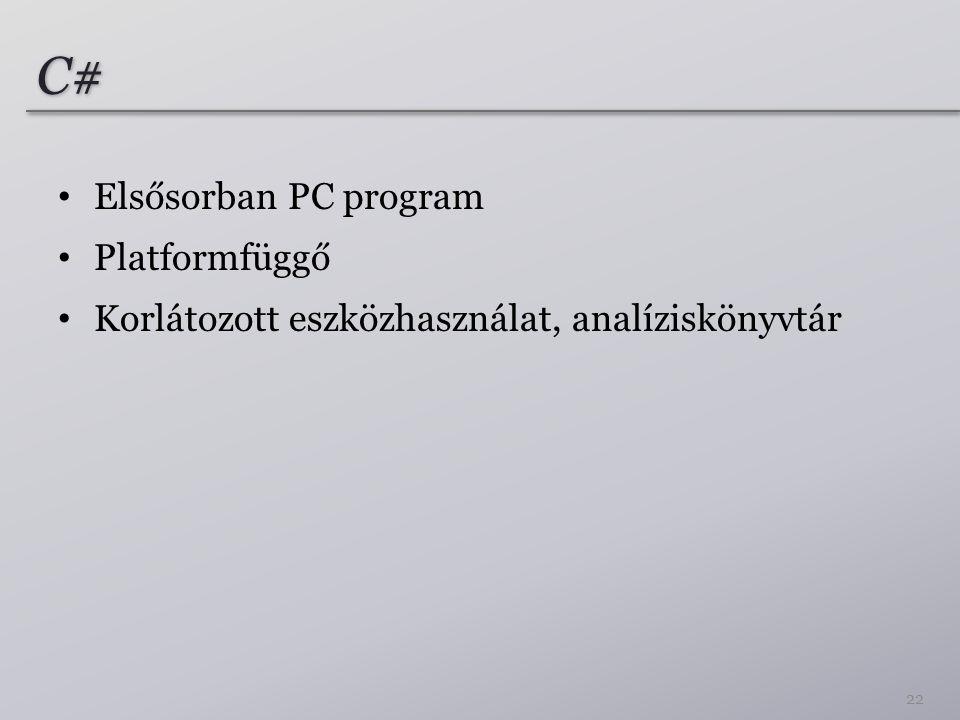 C# Elsősorban PC program Platformfüggő Korlátozott eszközhasználat, analíziskönyvtár 22