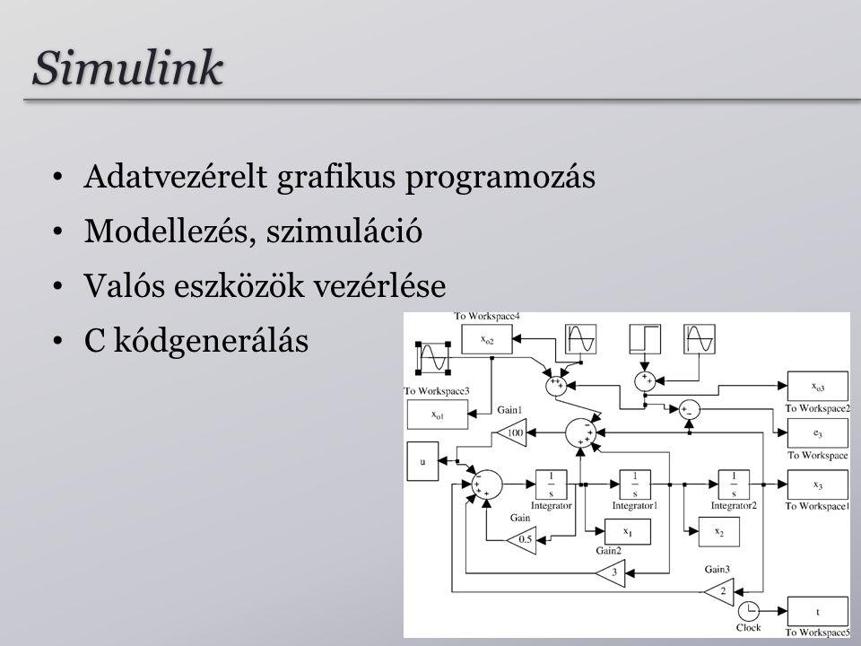 Simulink Adatvezérelt grafikus programozás Modellezés, szimuláció Valós eszközök vezérlése C kódgenerálás 26