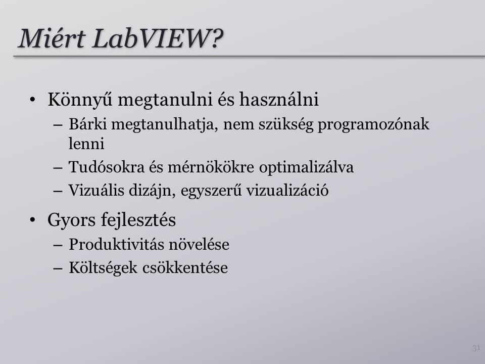 Miért LabVIEW? Könnyű megtanulni és használni – Bárki megtanulhatja, nem szükség programozónak lenni – Tudósokra és mérnökökre optimalizálva – Vizuáli