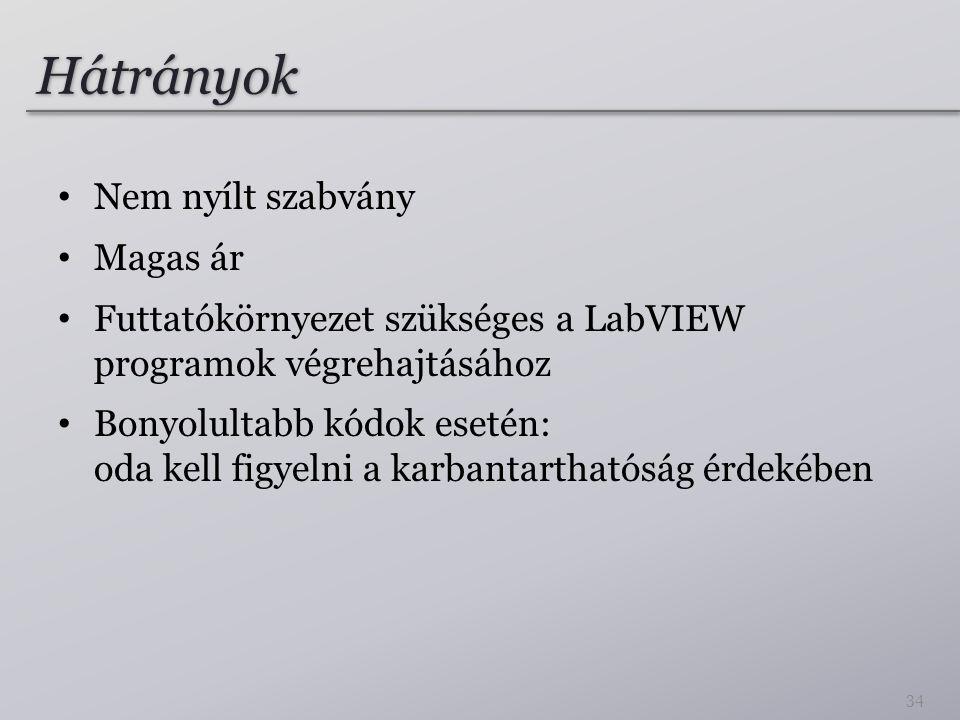 Hátrányok Nem nyílt szabvány Magas ár Futtatókörnyezet szükséges a LabVIEW programok végrehajtásához Bonyolultabb kódok esetén: oda kell figyelni a ka