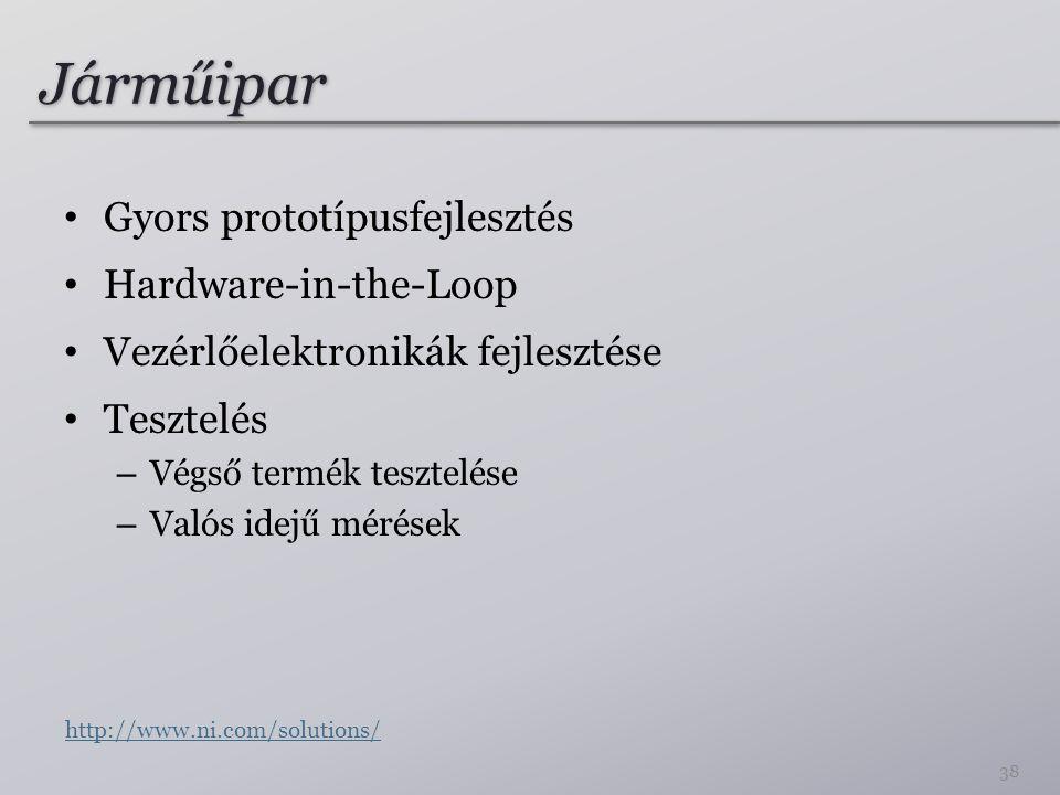 Járműipar Gyors prototípusfejlesztés Hardware-in-the-Loop Vezérlőelektronikák fejlesztése Tesztelés – Végső termék tesztelése – Valós idejű mérések 38 http://www.ni.com/solutions/