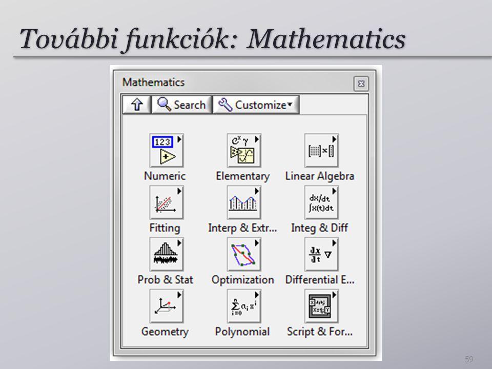 További funkciók: Mathematics 59