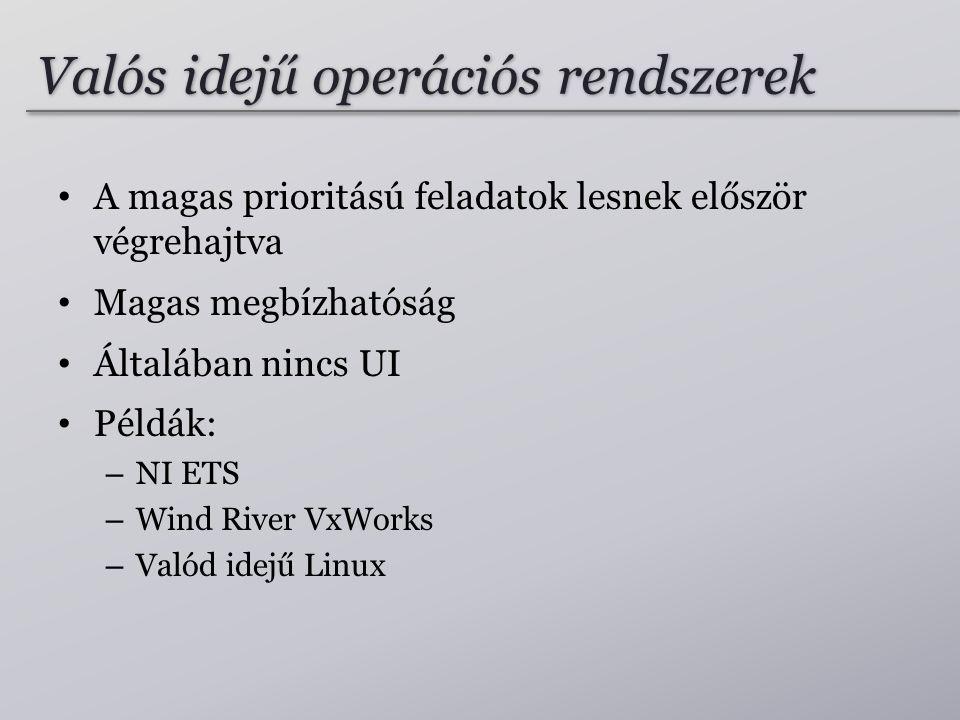 Valós idejű operációs rendszerek A magas prioritású feladatok lesnek először végrehajtva Magas megbízhatóság Általában nincs UI Példák: – NI ETS – Wind River VxWorks – Valód idejű Linux
