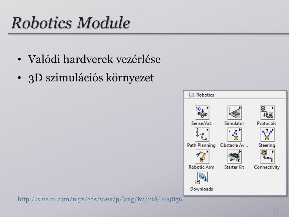 Robotics Module Valódi hardverek vezérlése 3D szimulációs környezet 73 http://sine.ni.com/nips/cds/view/p/lang/hu/nid/209856