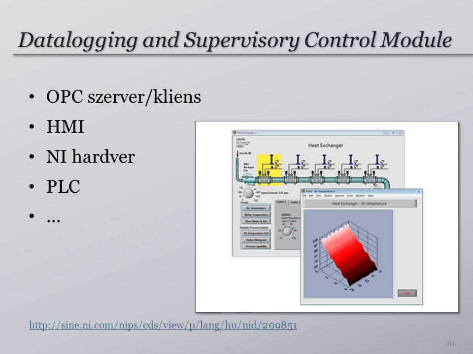 Datalogging and Supervisory Control Module OPC szerver/kliens HMI NI hardver PLC...