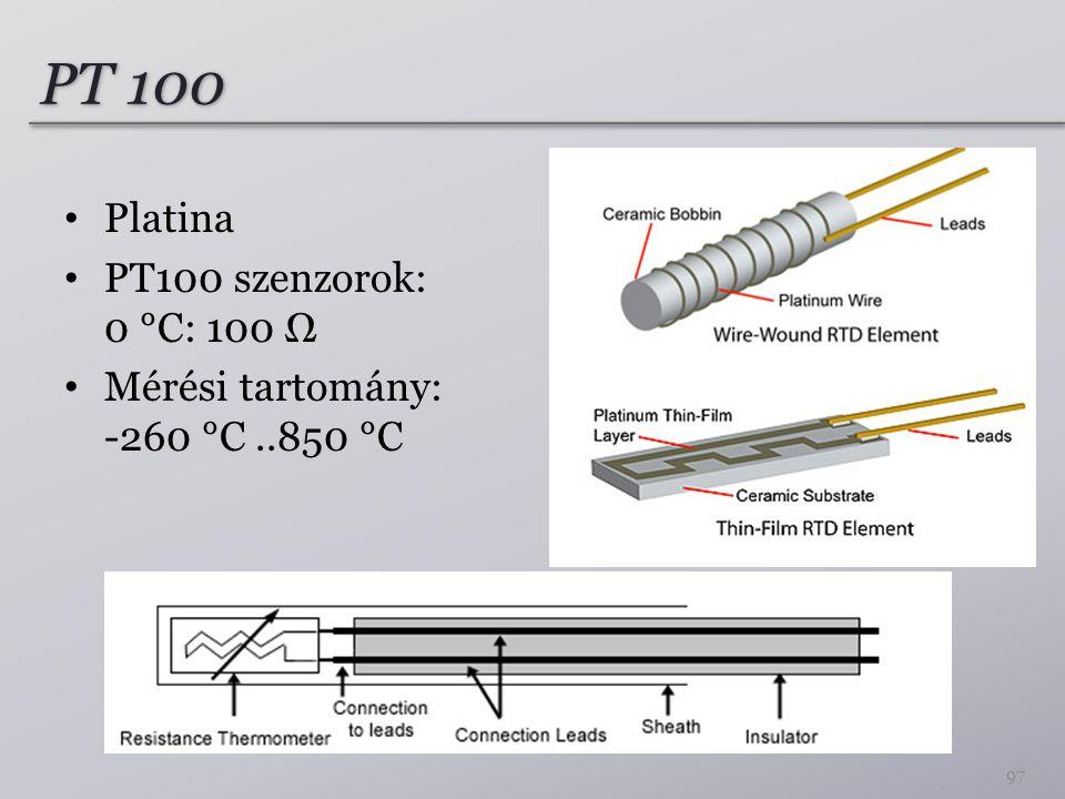 PT 100 Platina PT100 szenzorok: 0 °C: 100 Ω Mérési tartomány: -260 °C..850 °C 97