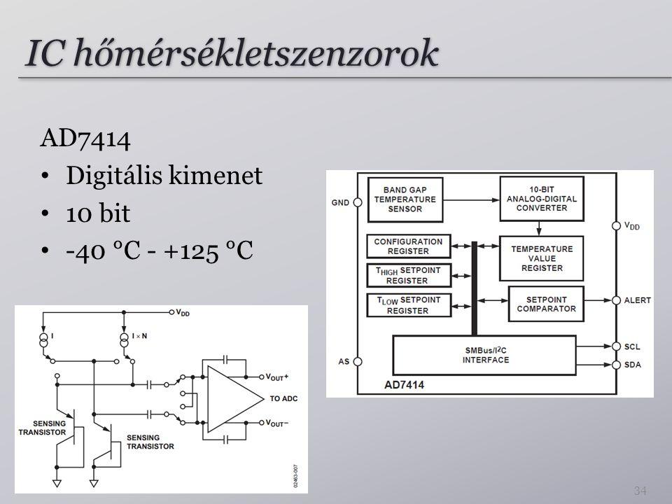IC hőmérsékletszenzorok AD7414 Digitális kimenet 10 bit -40 °C - +125 °C 34
