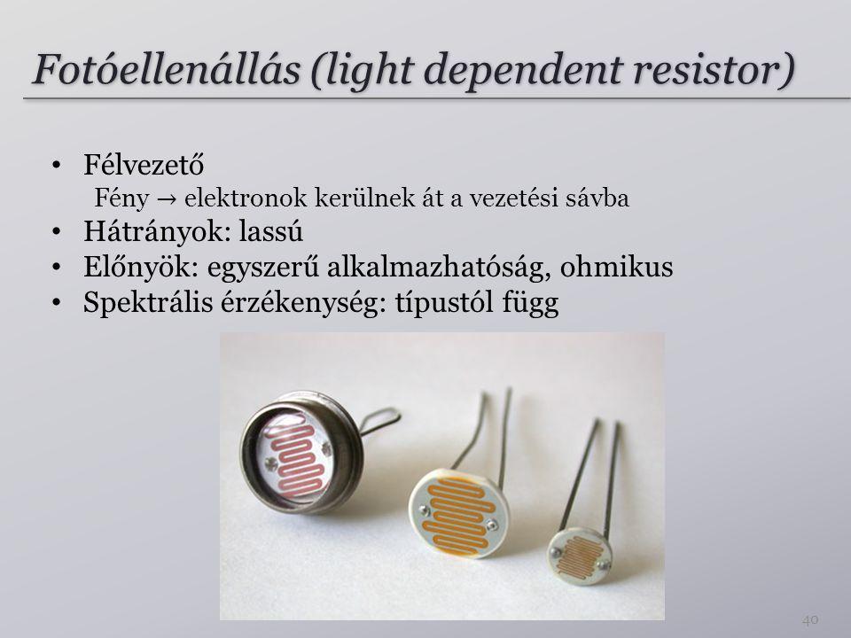 Fotóellenállás (light dependent resistor) 40