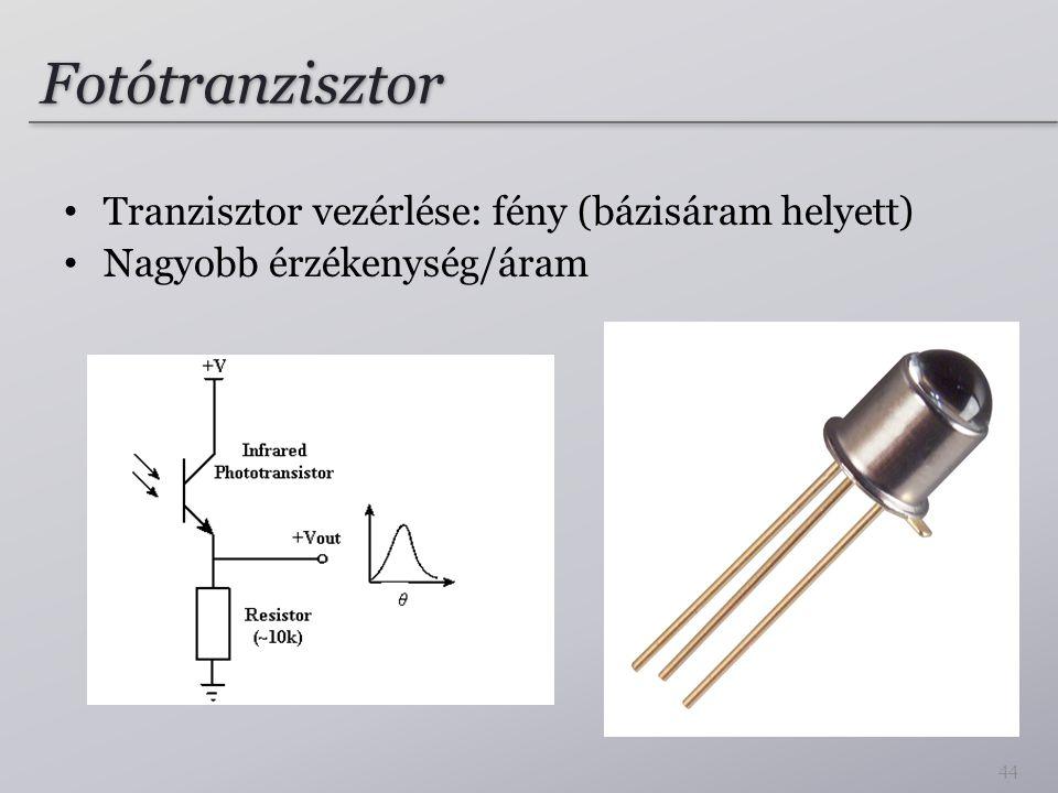 Fotótranzisztor Tranzisztor vezérlése: fény (bázisáram helyett) Nagyobb érzékenység/áram 44
