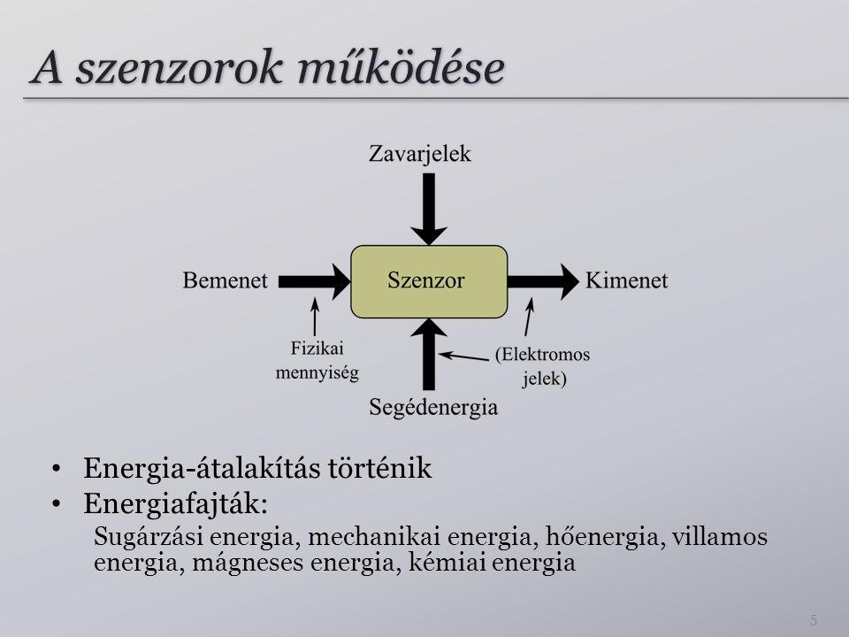A szenzorok működése Energia-átalakítás történik Energiafajták: Sugárzási energia, mechanikai energia, hőenergia, villamos energia, mágneses energia,