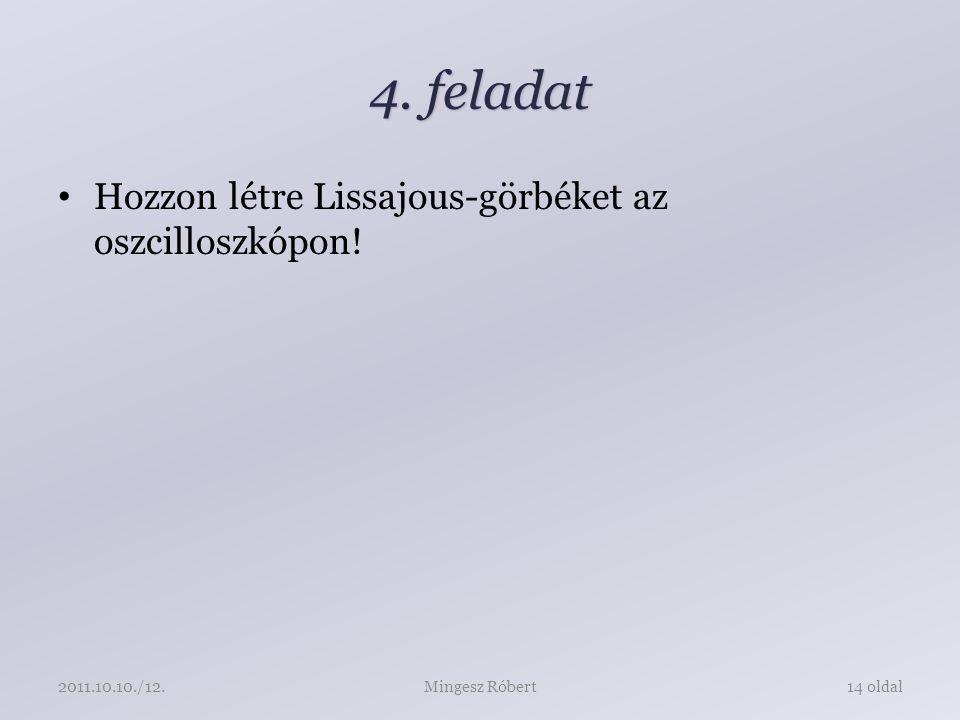 4. feladat Hozzon létre Lissajous-görbéket az oszcilloszkópon! Mingesz Róbert14 oldal2011.10.10./12.
