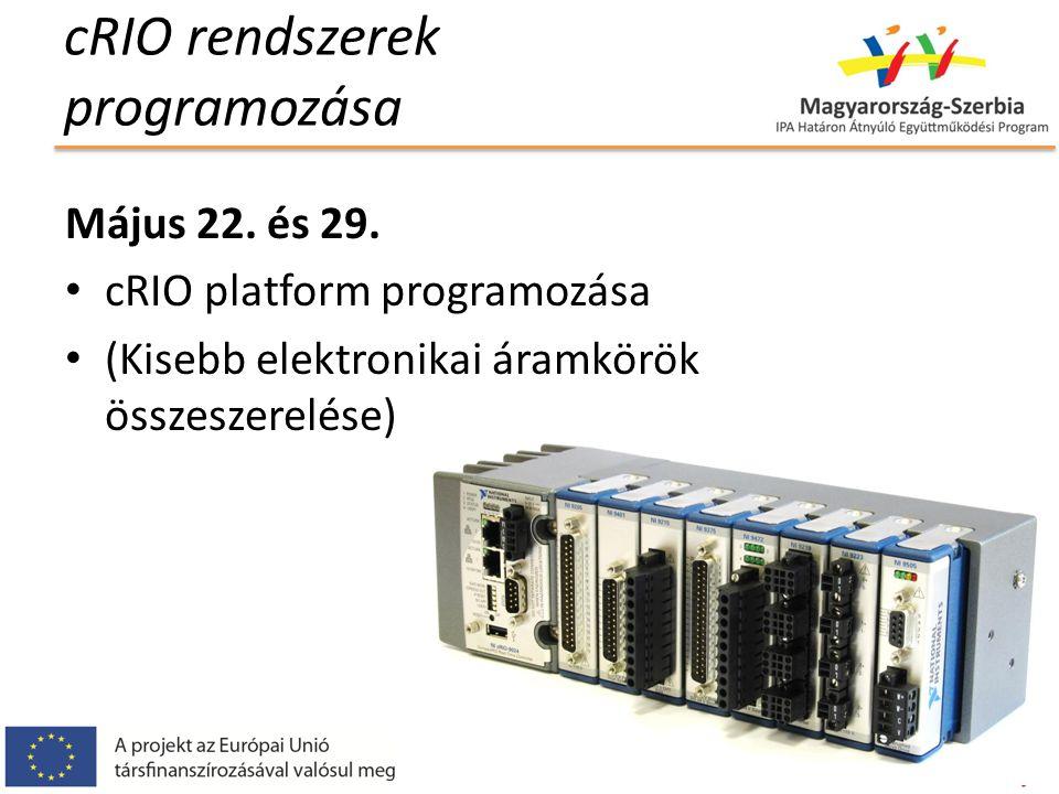 cRIO rendszerek programozása Május 22.és 29.