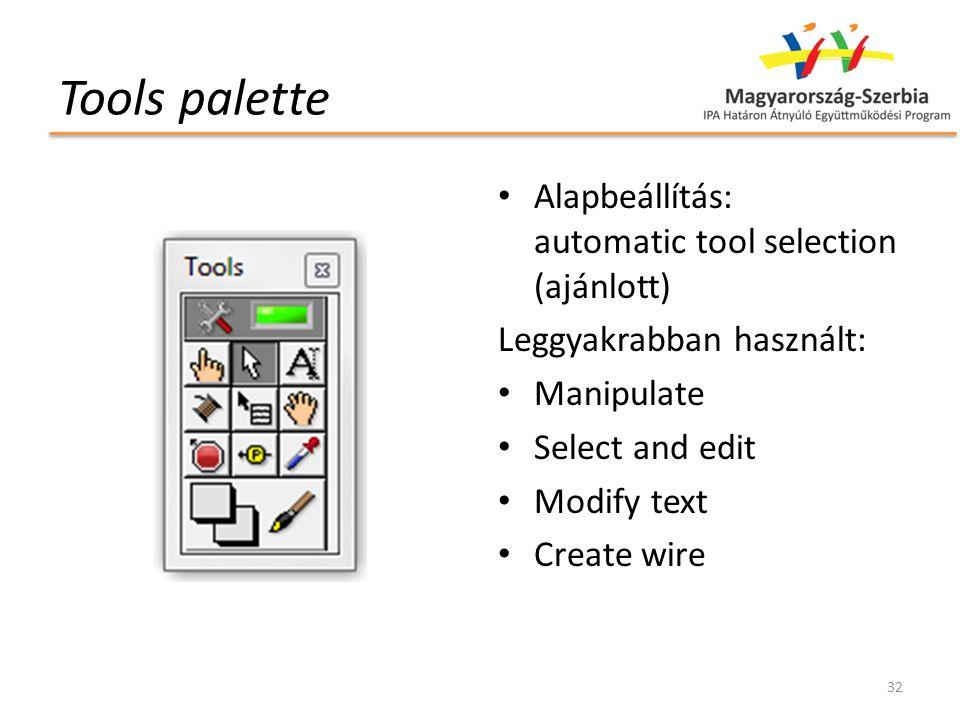 Tools palette Alapbeállítás: automatic tool selection (ajánlott) Leggyakrabban használt: Manipulate Select and edit Modify text Create wire 32