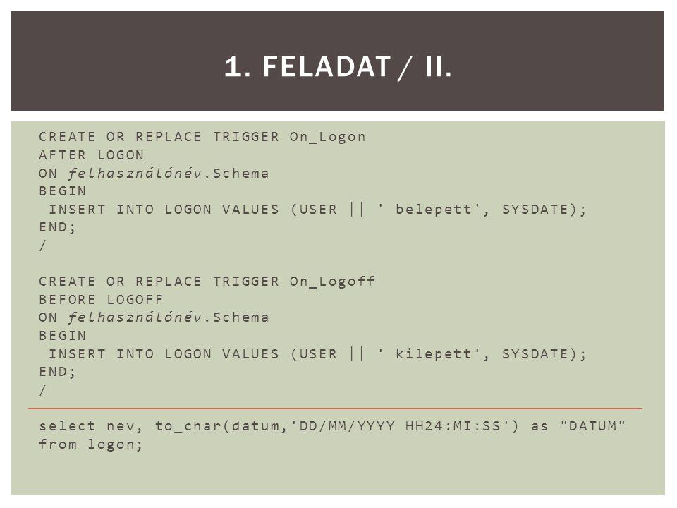  Hozzunk létre egy olyan utasításszintű BEFORE triggert, amely megakadályozza amunkaidőn kívüli adatmanipulációkat az emp táblán.