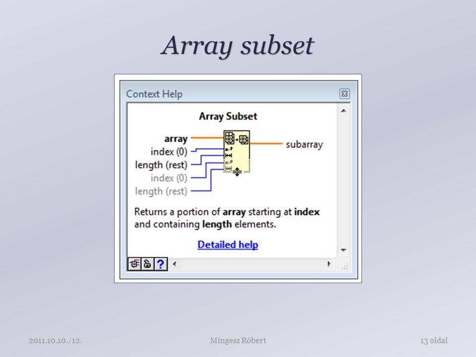 Array subset Mingesz Róbert13 oldal2011.10.10./12.