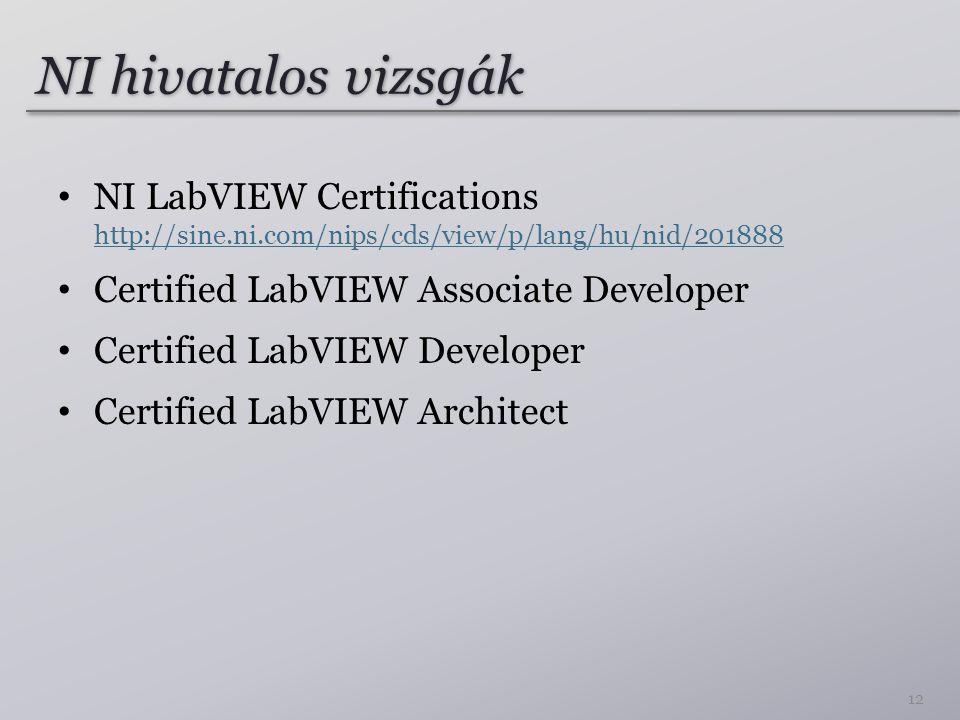 NI hivatalos vizsgák NI LabVIEW Certifications http://sine.ni.com/nips/cds/view/p/lang/hu/nid/201888 http://sine.ni.com/nips/cds/view/p/lang/hu/nid/201888 Certified LabVIEW Associate Developer Certified LabVIEW Developer Certified LabVIEW Architect 12