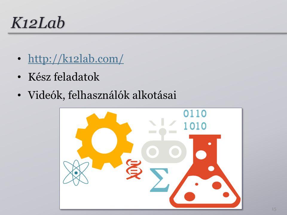 K12Lab http://k12lab.com/ Kész feladatok Videók, felhasználók alkotásai 15