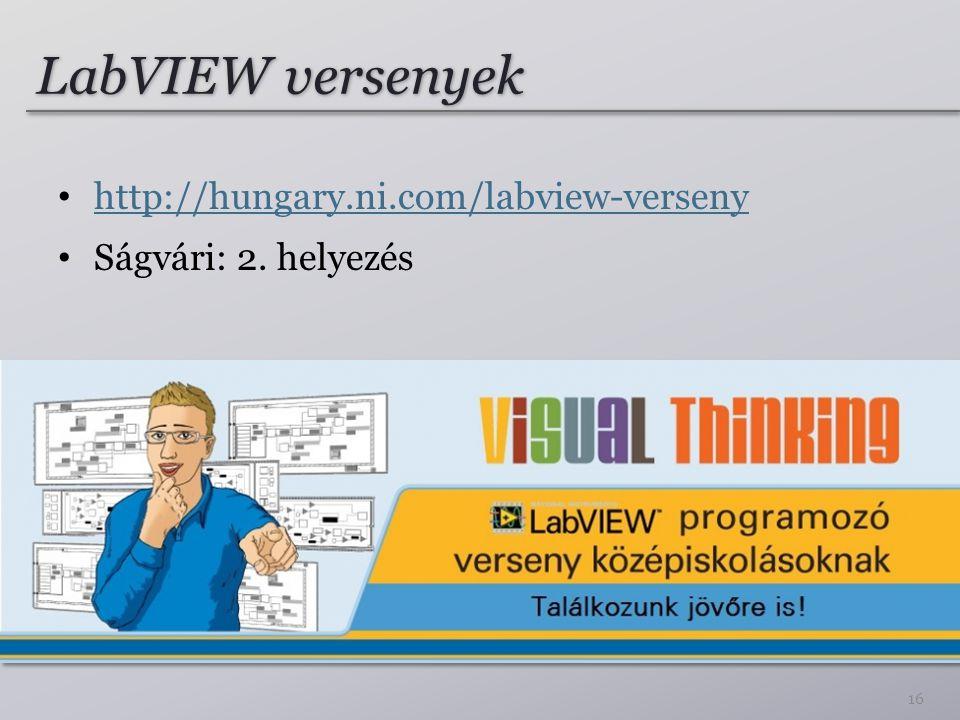 LabVIEW versenyek http://hungary.ni.com/labview-verseny Ságvári: 2. helyezés 16