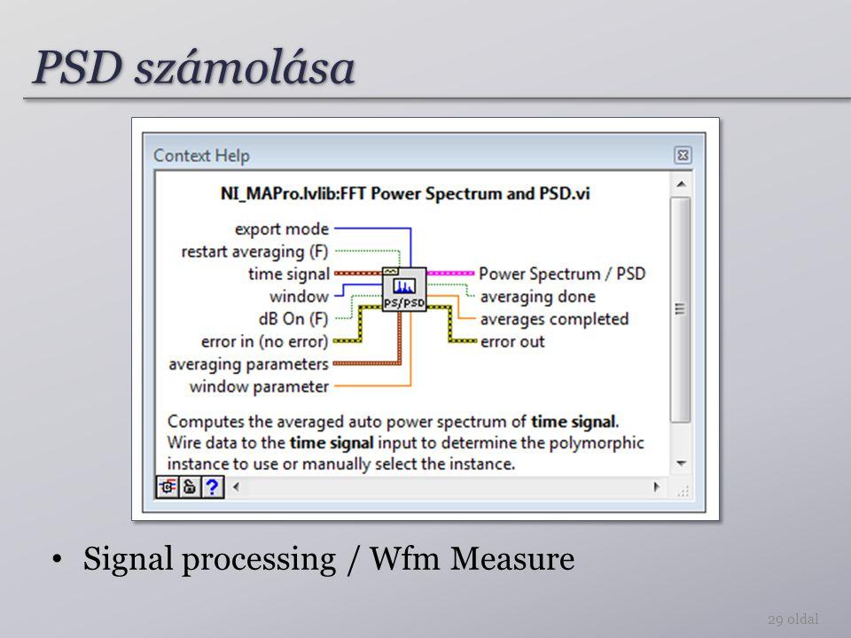 PSD számolása 29 oldal Signal processing / Wfm Measure