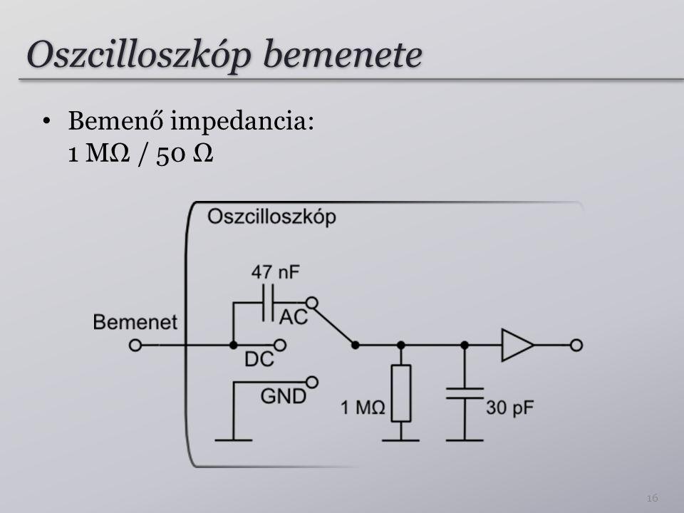 Oszcilloszkóp bemenete Bemenő impedancia: 1 MΩ / 50 Ω 16