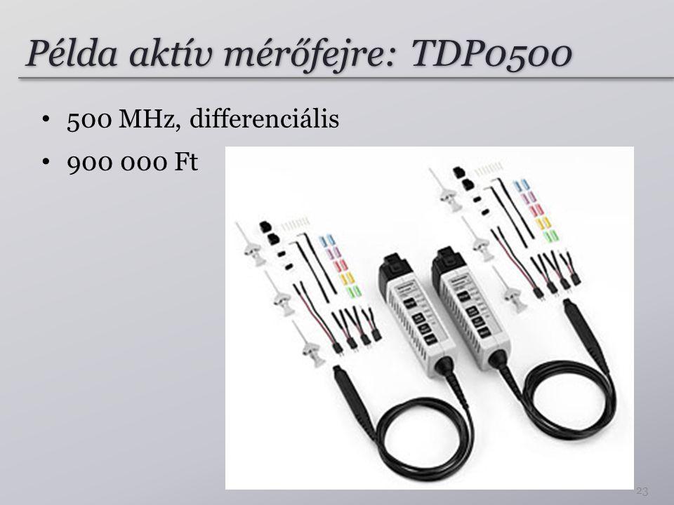 Példa aktív mérőfejre: TDP0500 500 MHz, differenciális 900 000 Ft 23