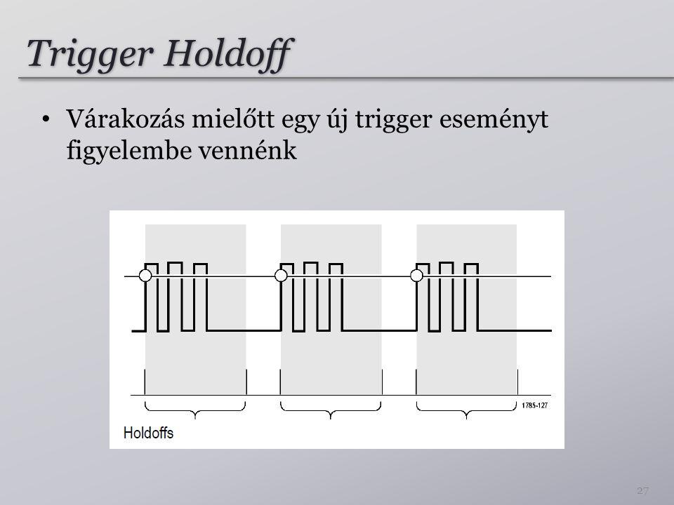Trigger Holdoff Várakozás mielőtt egy új trigger eseményt figyelembe vennénk 27