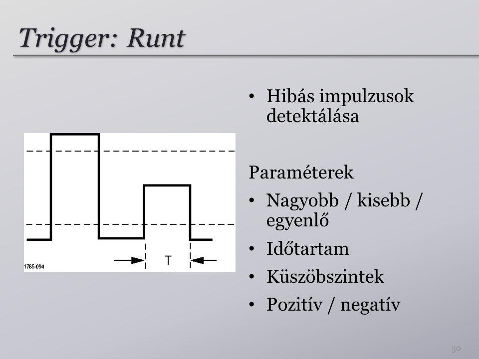 Trigger: Runt Hibás impulzusok detektálása Paraméterek Nagyobb / kisebb / egyenlő Időtartam Küszöbszintek Pozitív / negatív 30