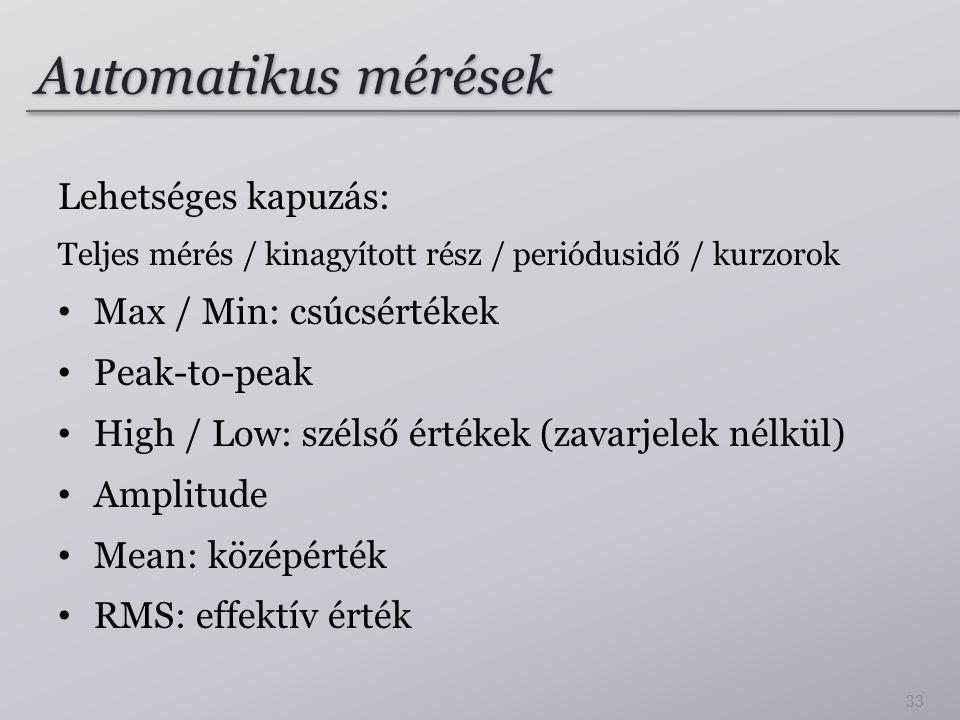 Automatikus mérések Lehetséges kapuzás: Teljes mérés / kinagyított rész / periódusidő / kurzorok Max / Min: csúcsértékek Peak-to-peak High / Low: szél