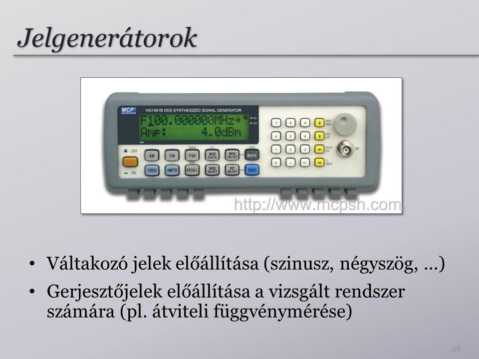Jelgenerátorok Váltakozó jelek előállítása (szinusz, négyszög,...) Gerjesztőjelek előállítása a vizsgált rendszer számára (pl. átviteli függvénymérése