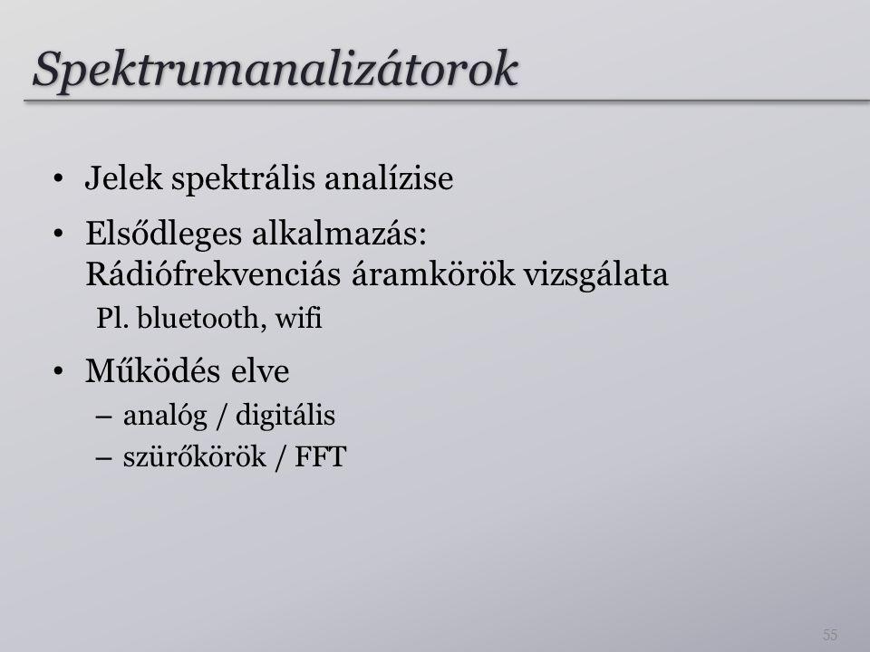 Spektrumanalizátorok Jelek spektrális analízise Elsődleges alkalmazás: Rádiófrekvenciás áramkörök vizsgálata Pl. bluetooth, wifi Működés elve – analóg