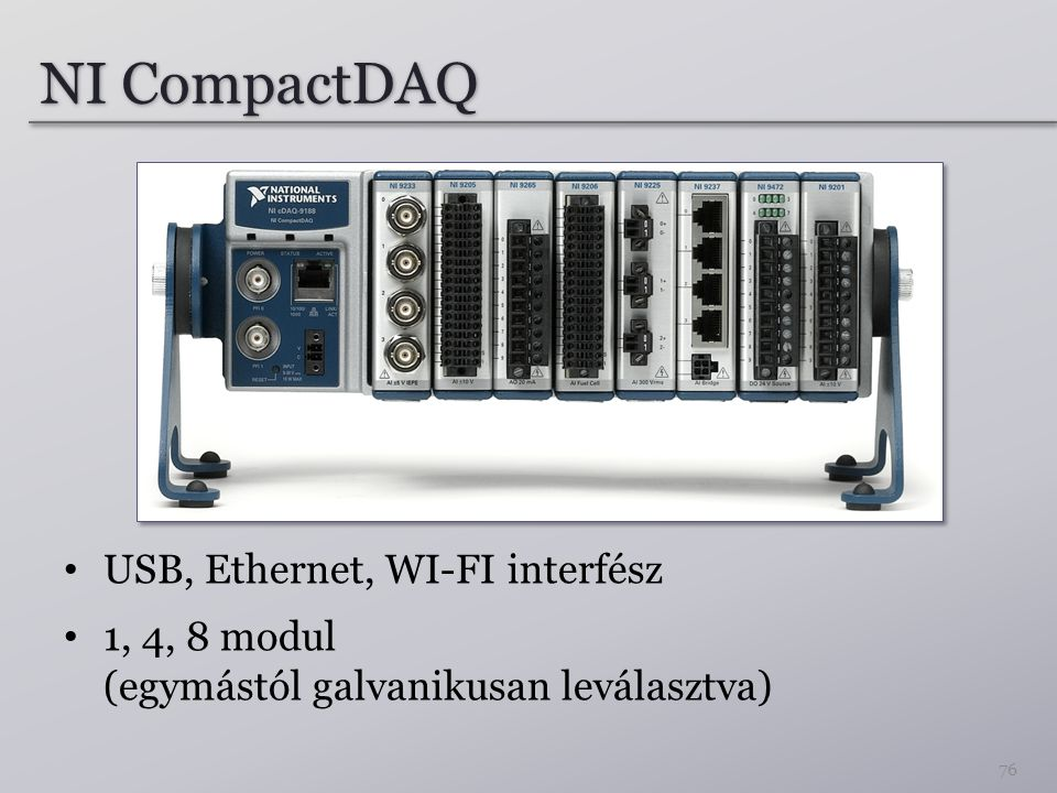 NI CompactDAQ USB, Ethernet, WI-FI interfész 1, 4, 8 modul (egymástól galvanikusan leválasztva) 76