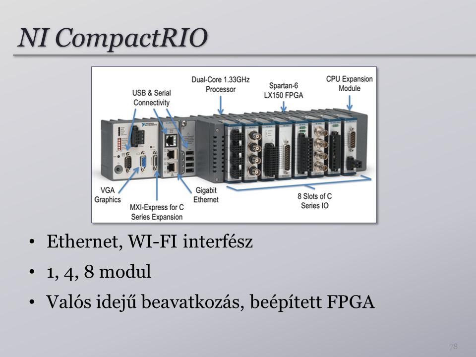 NI CompactRIO Ethernet, WI-FI interfész 1, 4, 8 modul Valós idejű beavatkozás, beépített FPGA 78